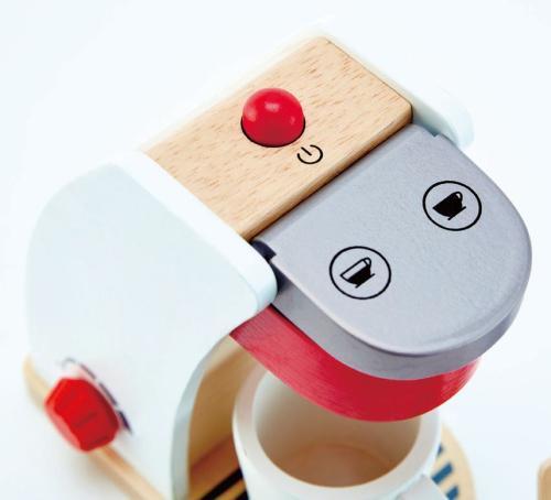 6-teilig Kinder-Kaffeemaschinen-Set | Holz Spielzeug Peitz