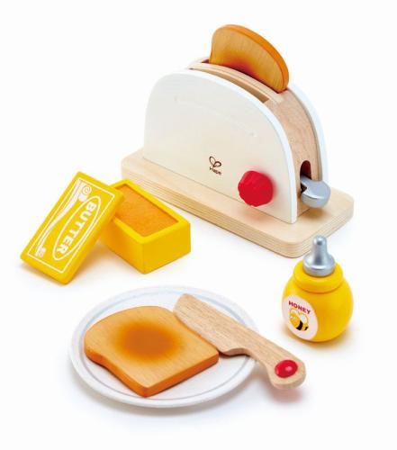 7-Teile! Farbiges Kinder-Toaster-Set | Holz Spielzeug Peitz