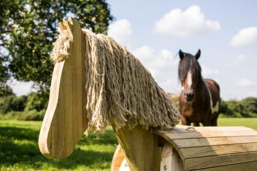 Voltigierpferd outdoor holz pferd spielzeug peitz