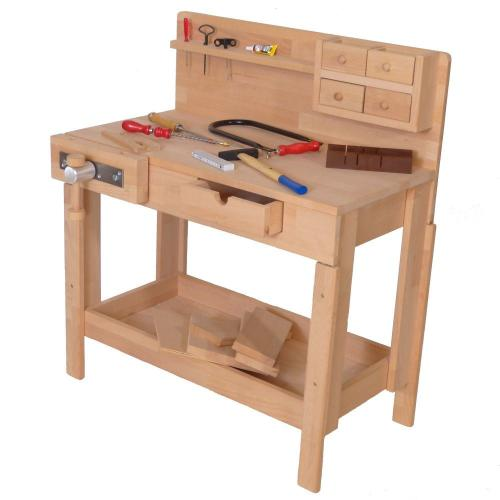 Exklusiv! Kinder-Naturholz-Werkbank | Holz Spielzeug Peitz