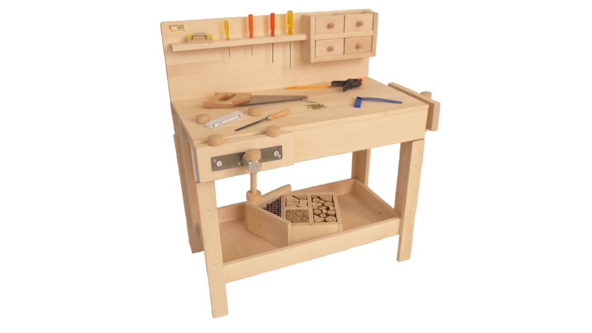 nur hier kinder naturholz werkbank holz spielzeug peitz. Black Bedroom Furniture Sets. Home Design Ideas