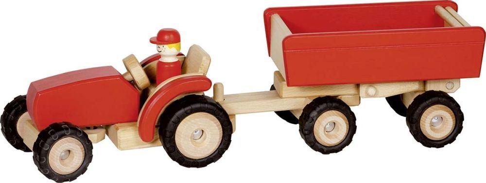 Holzspielzeug Traktor Trecker Holz mit Anhänger und Zubehör Bauernhof Farm