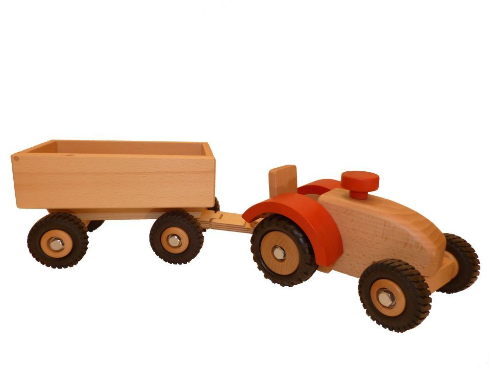 Holztraktor mit Anhänger Holzspielzeug Bauernhof