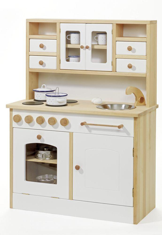 Weiße, stabile Kinder-Spiel-Küche | Holz Spielzeug Peitz